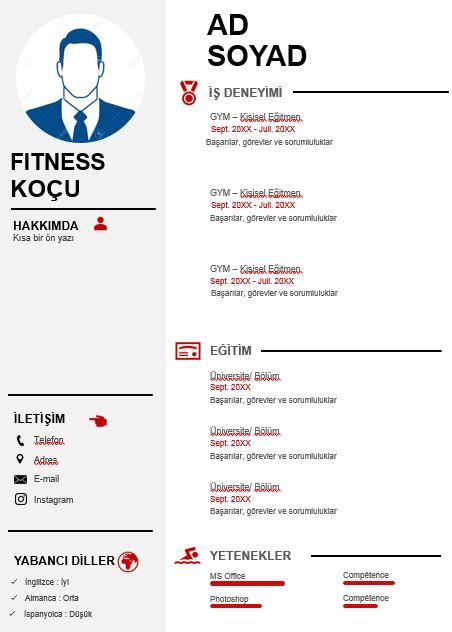 Fitness Antrenörü CV örneği