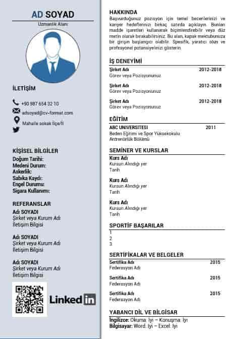 Antrenör CV örnekleri